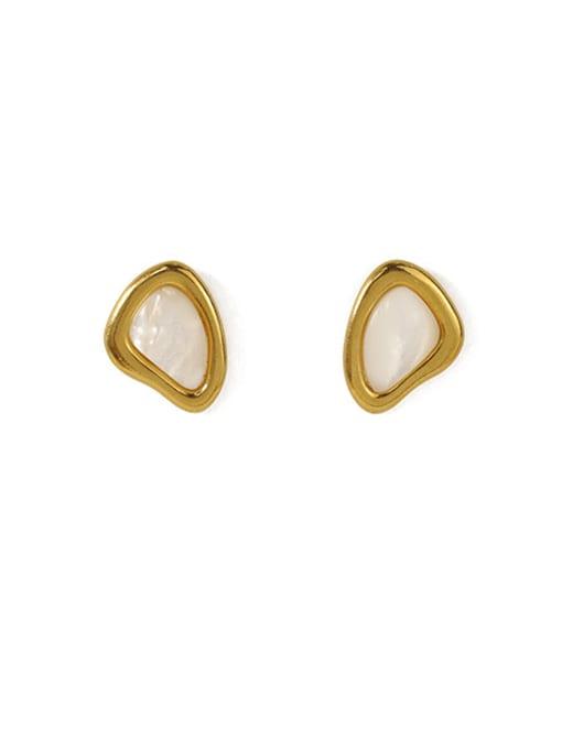 ACCA Brass Shell Geometric Minimalist Stud Earring