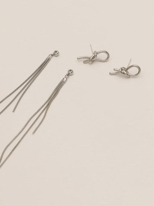White K Brass Tassel Minimalist Threader Earring