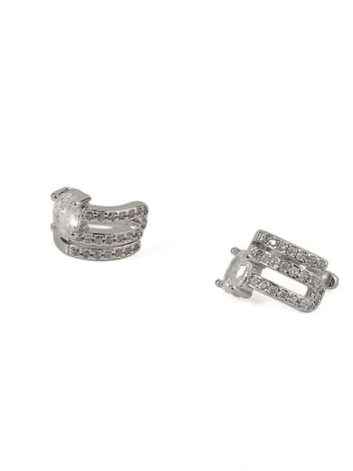 ACCA Brass Cubic Zirconia Geometric Classic Stud Earring