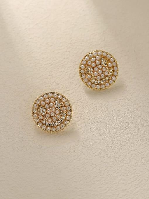14k Gold Brass Imitation Pearl Smiley Vintage Stud Trend Korean Fashion Earring