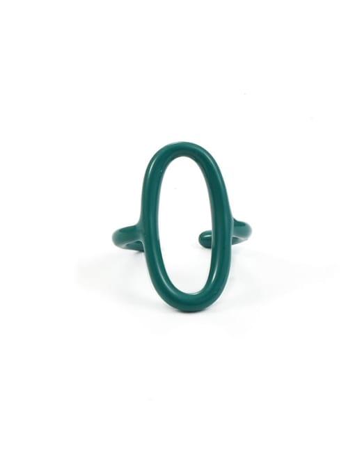 Green oil dripping (No. 6 and No. 7 ) Zinc Alloy Enamel Geometric Minimalist Band Ring