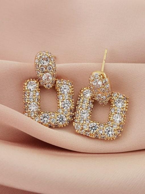 HYACINTH Brass Cubic Zirconia Geometric Luxury Drop Earring 2
