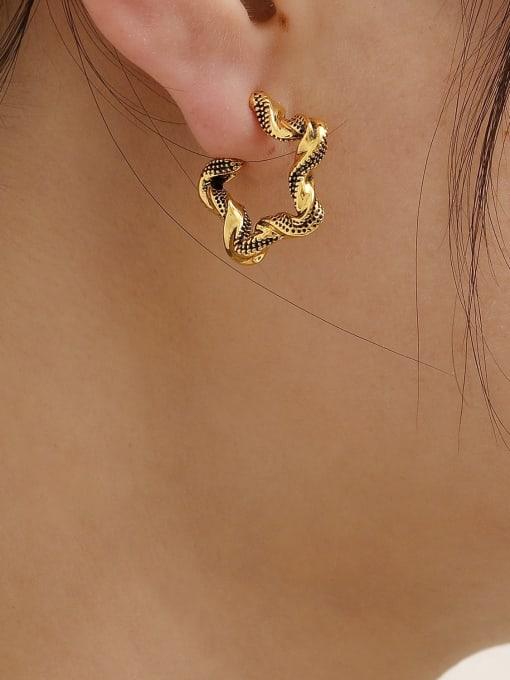 HYACINTH Brass Hollow Geometric Vintage Hoop Earring 2