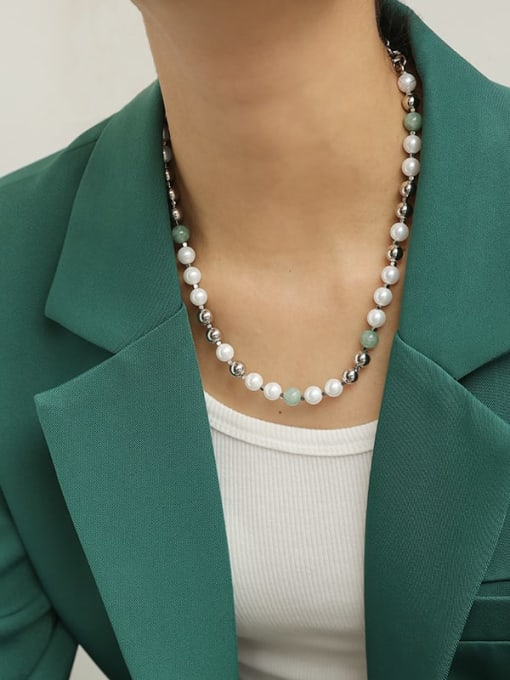 TINGS Brass Imitation Pearl Geometric Vintage Beaded Necklace 1