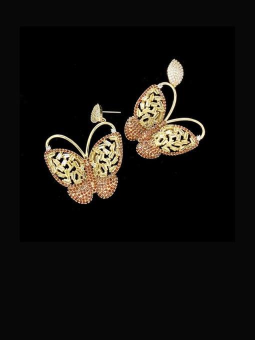 orange Brass Cubic Zirconia Butterfly Vintage Stud Earring