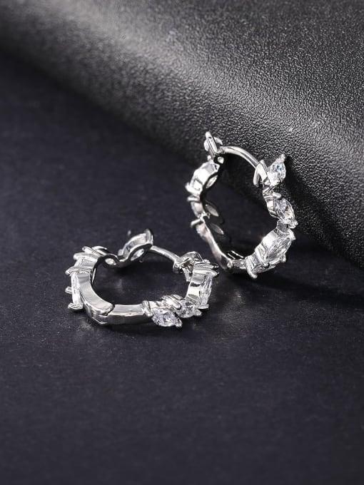 OUOU Brass Cubic Zirconia Geometric Statement Huggie Earring 2