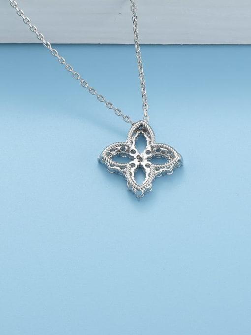 YILLIN Brass Cubic Zirconia Minimalist Clover  Pendant Necklace 1