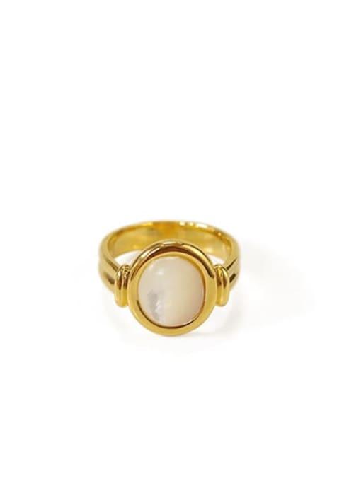golden Brass Shell Geometric Vintage Band Ring