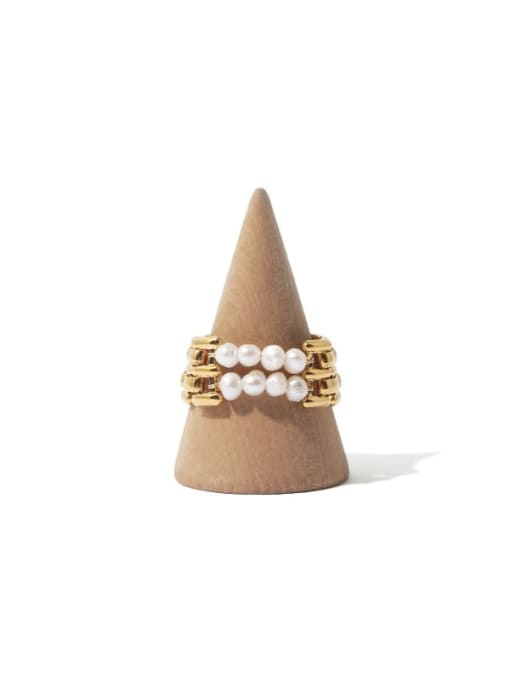8 pearls 8 ring Brass Freshwater Pearl Geometric Hip Hop Stackable Ring