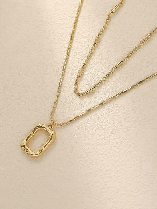 HYACINTH Brass Vintage  Hollow  Geometric Pendant Trend Korean Fashion Necklace 0