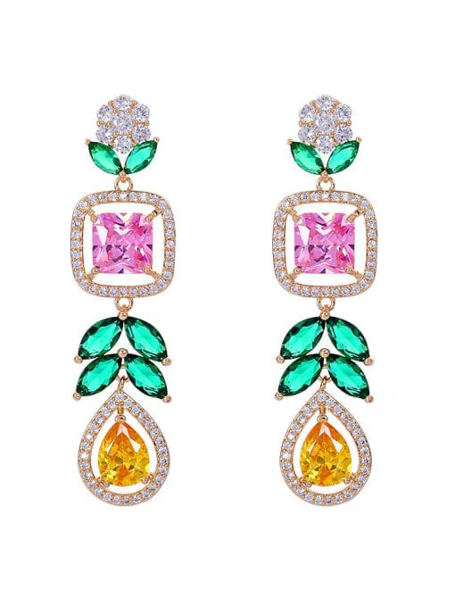 Seven colors Brass Cubic Zirconia Heart Luxury Drop Earring