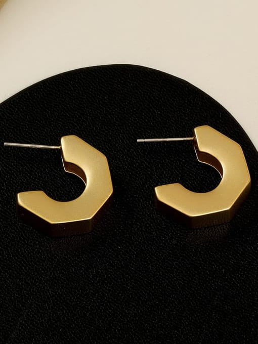HYACINTH Brass Smooth Irregular Minimalist Stud Earring 2