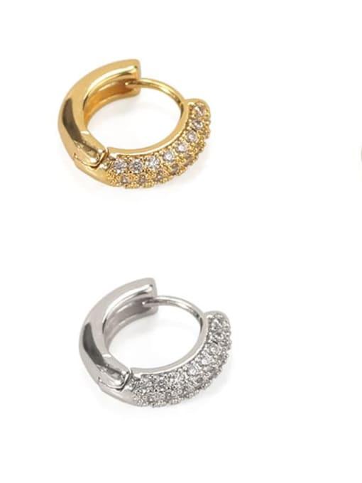 ACCA Brass Cubic Zirconia Geometric Dainty Huggie Earring 2