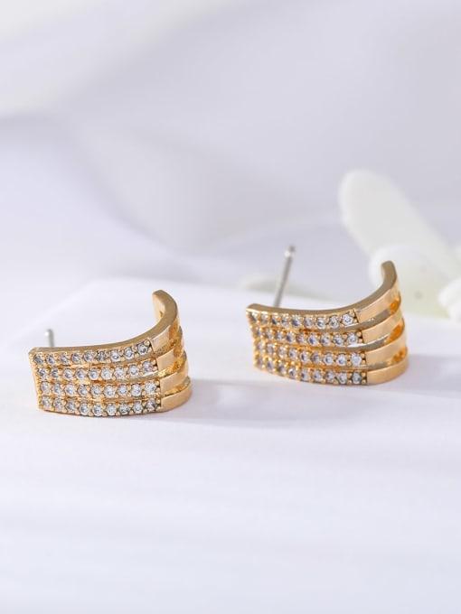 OUOU Brass Cubic Zirconia Geometric Ethnic Stud Earring 1