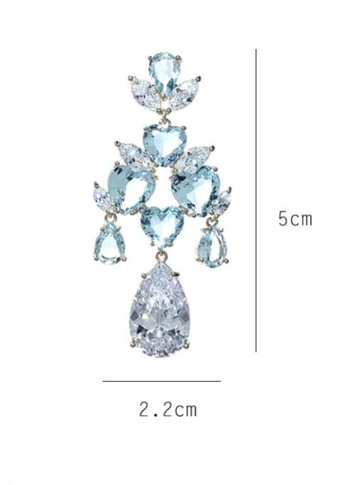 SUUTO Brass Cubic Zirconia Flower Luxury Drop Earring 2