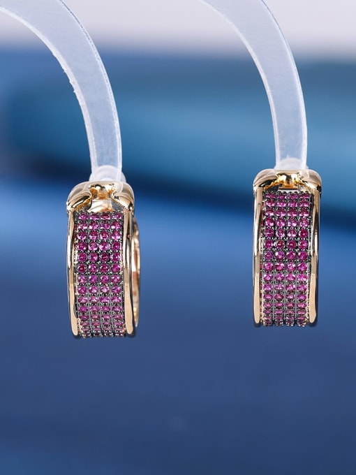 gules Brass Cubic Zirconia Geometric Luxury Stud Earring