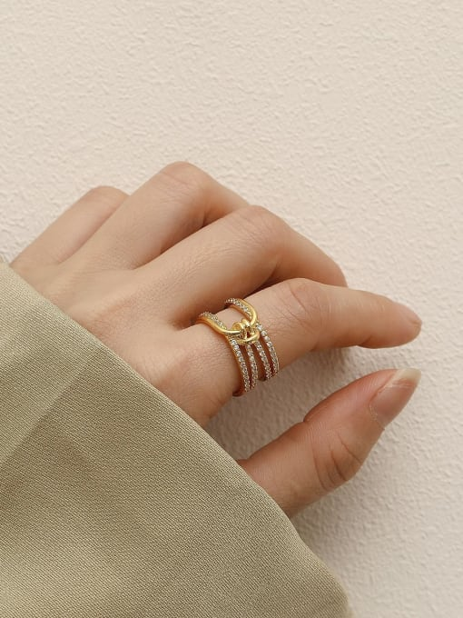 HYACINTH Brass Cubic Zirconia Geometric Vintage Stackable Ring 1
