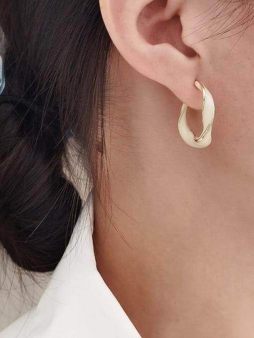 HYACINTH Brass Enamel Geometric Minimalist Huggie Earring 1