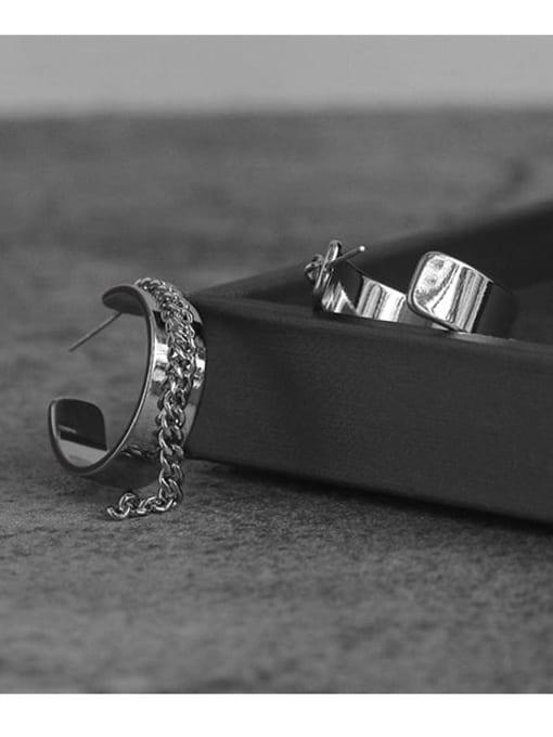 TINGS Brass C-shaped tassel chain Hip Hop Stud Earring 0