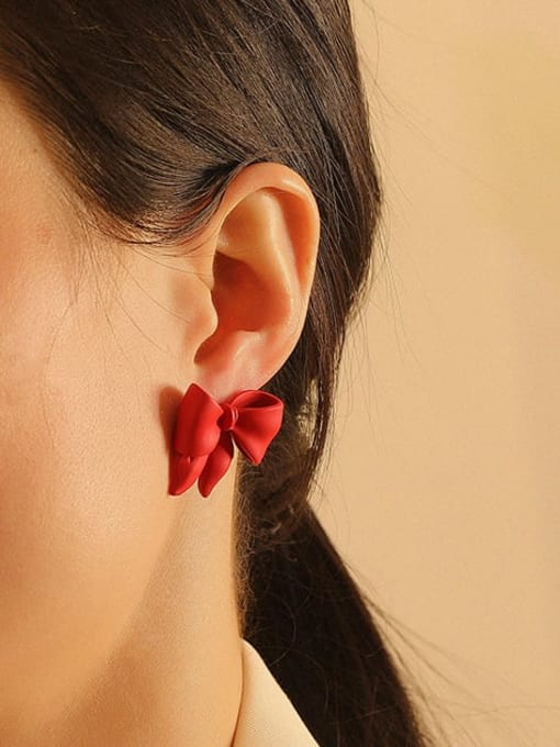 HYACINTH Brass Enamel Bowknot Vintage Stud Earring 3