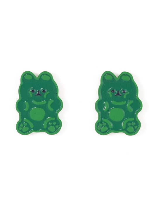 Five Color Alloy Enamel Bear Cute Stud Earring 3
