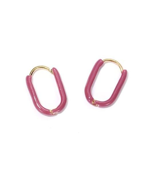 Bean paste with purple ears Brass Enamel Geometric Vintage Huggie Earring