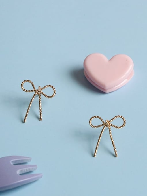 Five Color Alloy Bowknot Cute Stud Earring 0