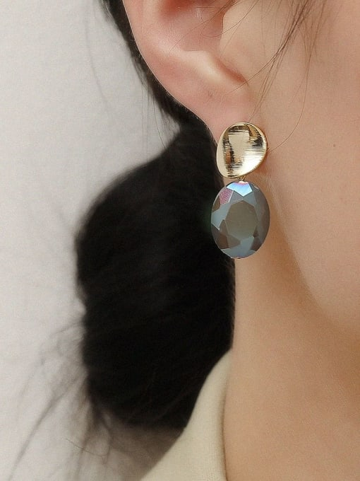 HYACINTH Brass Glass Stone Geometric Vintage Drop Earring 1
