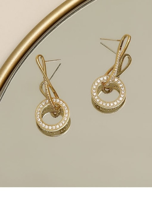 golden Brass Cubic Zirconia Geometric Minimalist Drop Earring