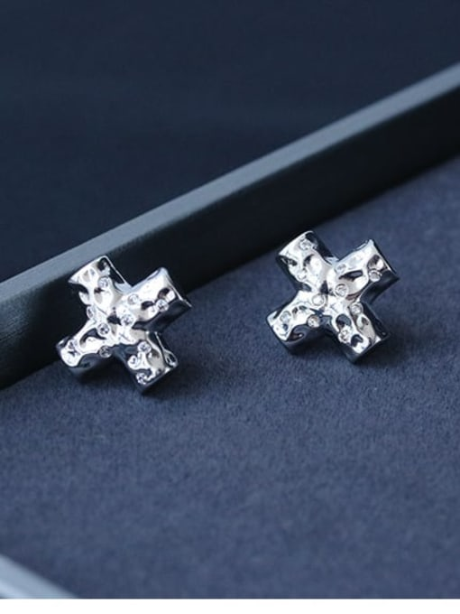 TINGS Brass Cross Minimalist Stud Earring 2