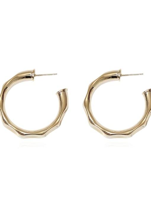 HYACINTH Brass Geometric Minimalist Hoop Earring 4