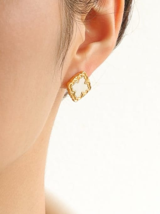 Five Color Brass Shell Square Vintage Stud Earring 1