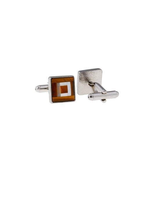 ThreeLink Brass Shell Square Vintage Cuff Link 2