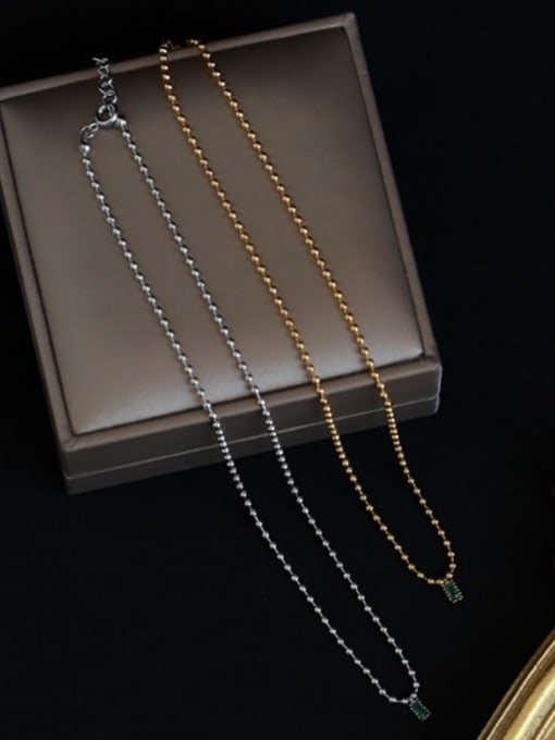 Five Color Brass Bead  Chain Geometric Vintage Necklace 3