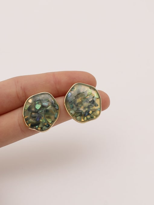 HYACINTH Brass Resin Geometric Ethnic Stud Earring 4