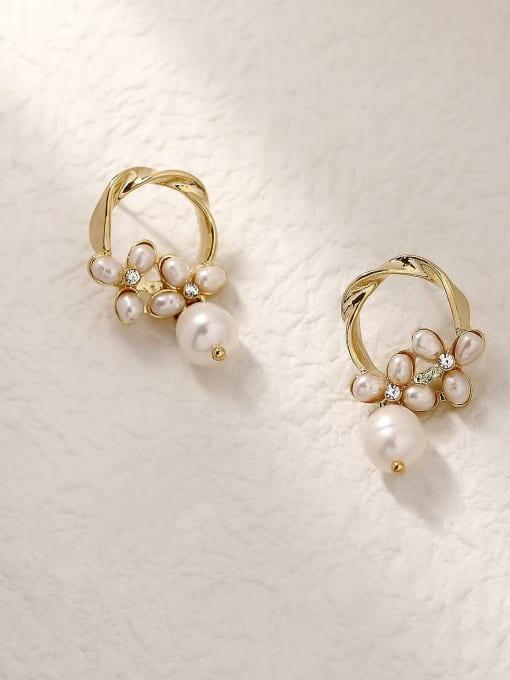 14k Gold Brass Imitation Pearl Geometric Vintage Drop Trend Korean Fashion Earring