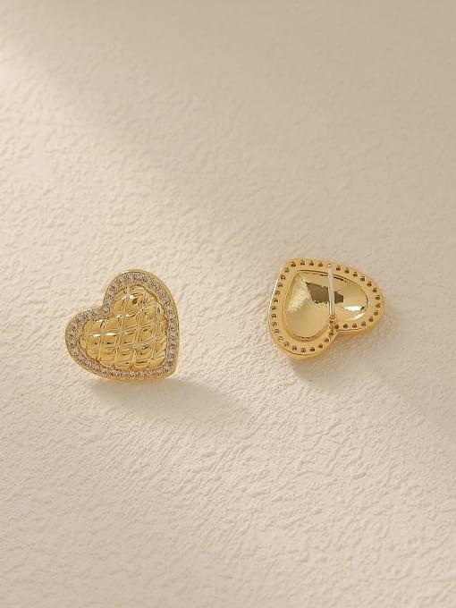 HYACINTH Brass Cubic Zirconia Heart Minimalist Stud Trend Korean Fashion Earring 3