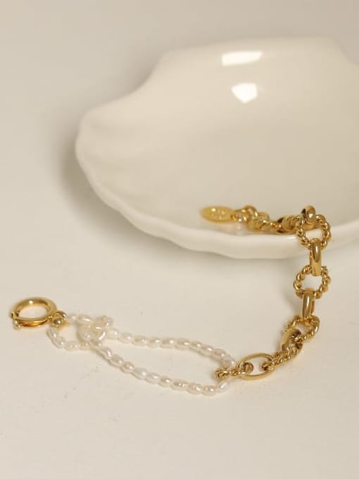 ACCA Brass Imitation Pearl Geometric Vintage Beaded Bracelet 2