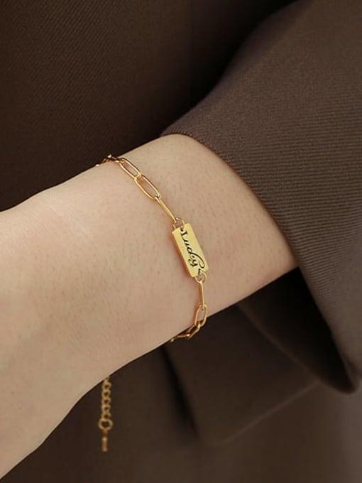 ACCA Titanium Steel Letter Minimalist Link Bracelet 1