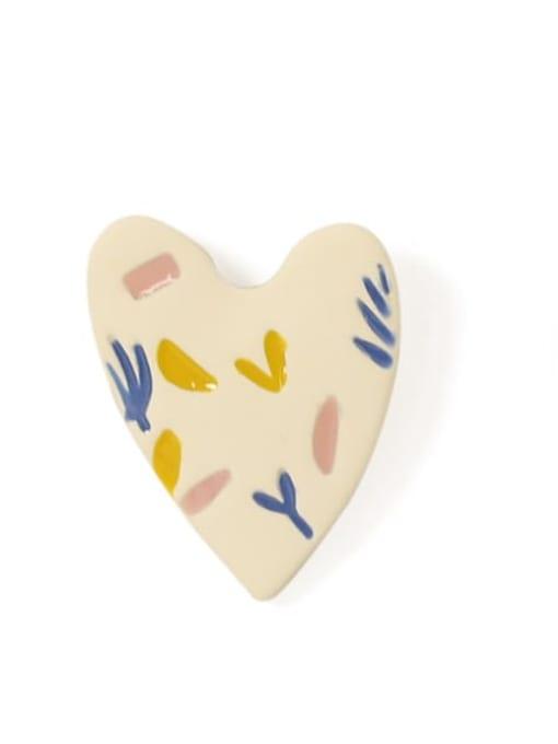 Five Color Alloy Acrylic Heart Cute Stud Earring 2