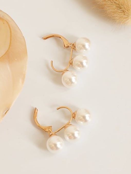 Five Color Brass Freshwater Pearl Geometric Hip Hop Huggie Earring