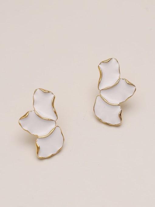 14k Gold White Brass Enamel Geometric Minimalist Stud Earring