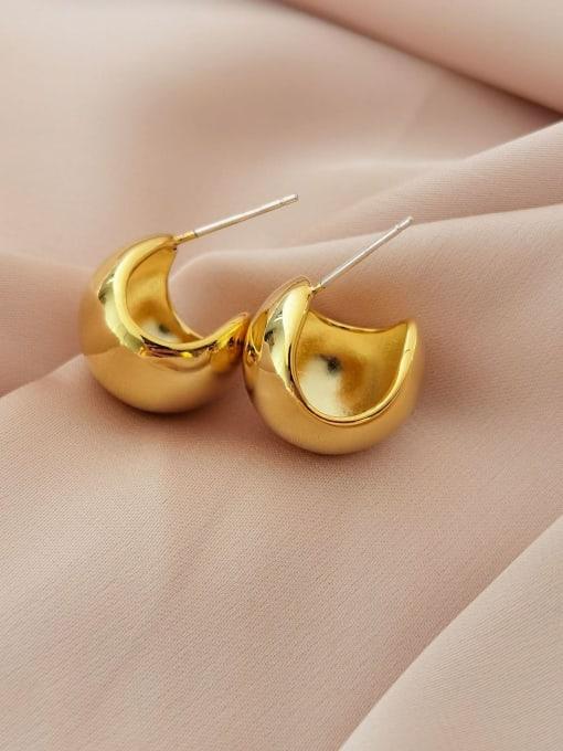 14k gold Brass  Minimalist  Smooth Geometric  Stud Earring