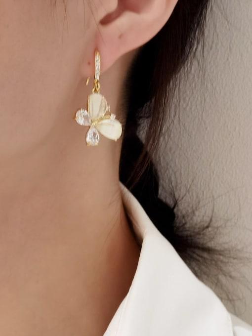 HYACINTH Brass Cats Eye Butterfly Minimalist Drop Earring 2