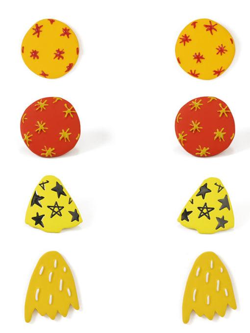 Five Color Alloy Enamel  Cute  Cartoon yellow star geometric wings Stud Earring