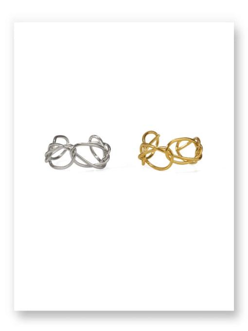 ACCA Brass Hollow Geometric Minimalist Band Ring 3