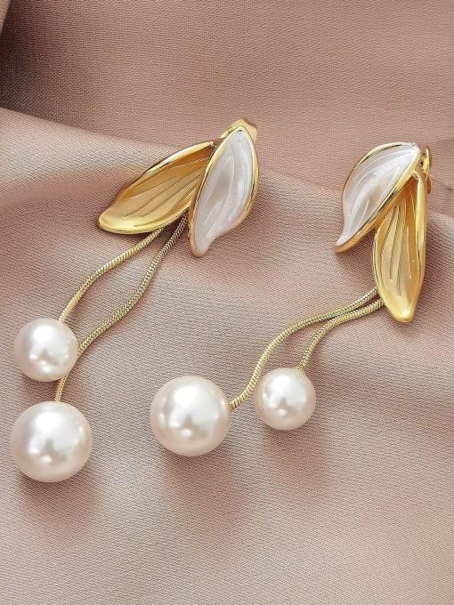 HYACINTH Brass Shell Tassel Minimalist Drop Earring 2