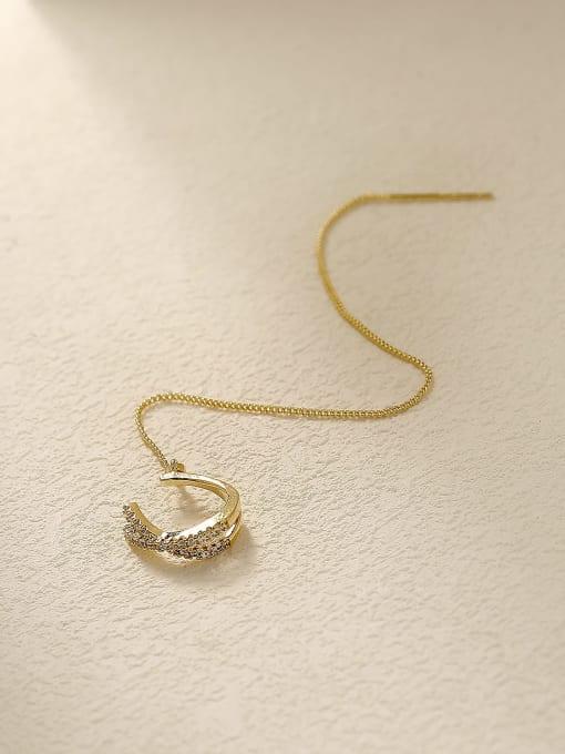 HYACINTH Brass Cubic Zirconia Tassel Minimalist Threader Trend Korean Fashion Earring 2