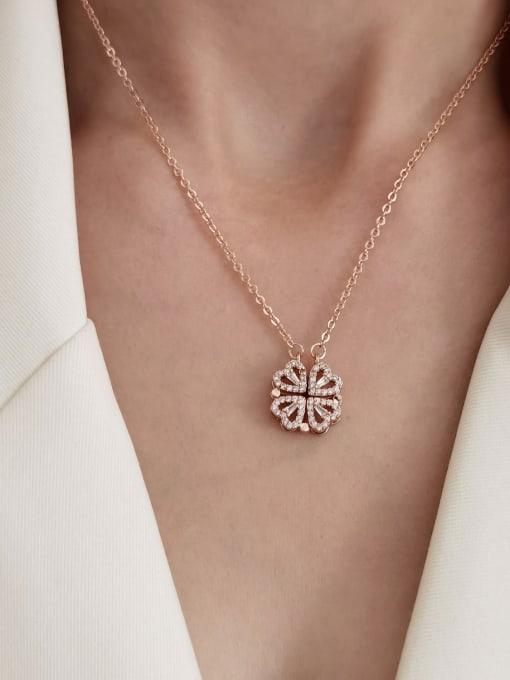 HYACINTH Brass Rhinestone Heart Minimalist Necklace 1
