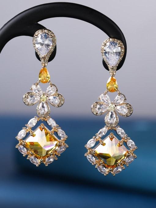OUOU Brass Cubic Zirconia Geometric Luxury Drop Earring 4